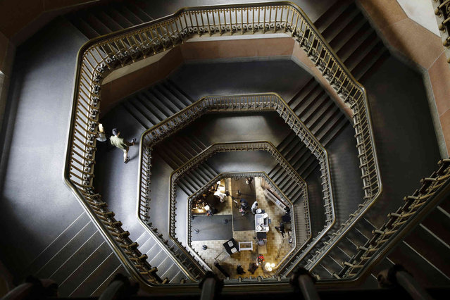 Show is a spiral staircase at City Hall in Philadelphia, Monday, April 8, 2019. (Photo by Matt Rourke/AP Photo)