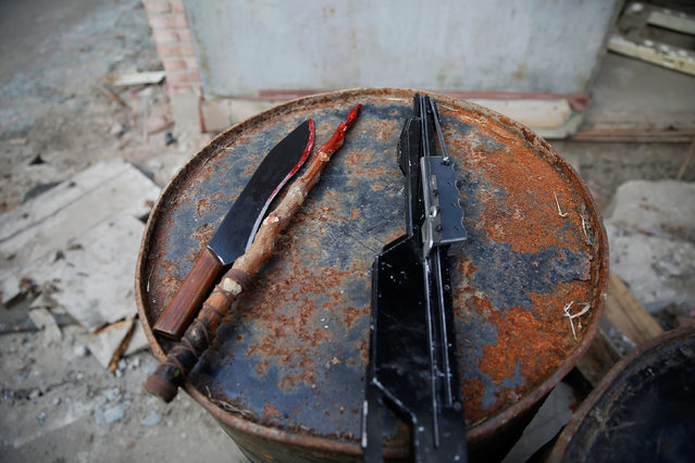 Props are seen at the set of the post-apocalyptic movie Zombie Era at an abandoned factory complex in Langfang, Hebei province, China December 16, 2016. (Photo by Damir Sagolj/Reuters)