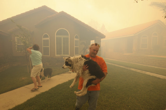 People evacuate from their homes as a wildfire driven by fierce Santa Ana winds closes in on them in Rancho Cucamonga, April 30, 2014. (Photo by David McNew/Reuters)