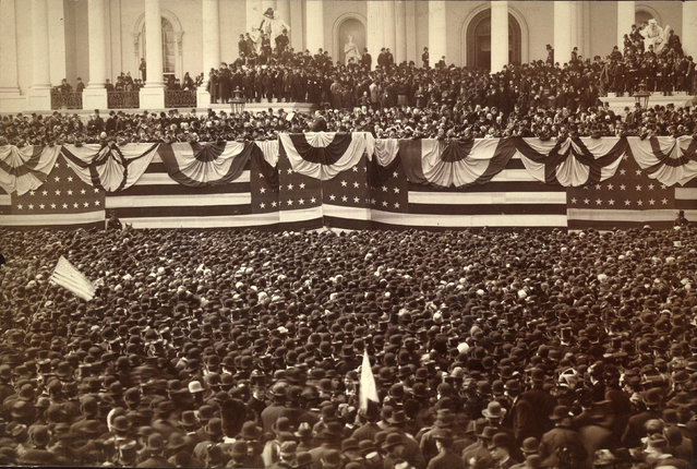 Grover Cleveland delivers his inaugural address on the east portico of the Capitol in Washington, D.C., U.S. in March 1885. (Photo by Reuters/Library of Congress)