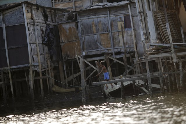 "A boy stands in front of his stilt house a lake dwelling also known as palafitte or ""Palafito"" in Recife, Brazil, March 1, 2016. (Photo by Ueslei Marcelino/Reuters)"