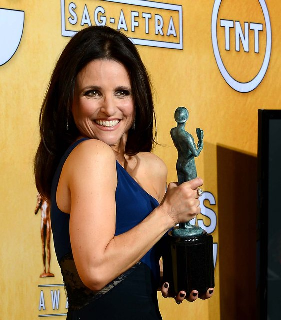 """Julia Louis-Dreyfus, winner of the Outstanding Performance by a Female Actor in a Comedy Series award for """"Veep"""", poses in the press room. (Photo by Ethan Miller/Getty Images)"""