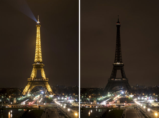 This combination photo shows the Eiffel Tower before and after its lights were turned off to mark Earth Hour in Paris, France, Saturday, March 19, 2016. Cities around the world were turning out the lights Saturday evening to mark the 10th annual Earth Hour, a global movement dedicated to protecting the planet and highlighting the effects of climate change. (Photo by Kamil Zihnioglu/AP Photo)