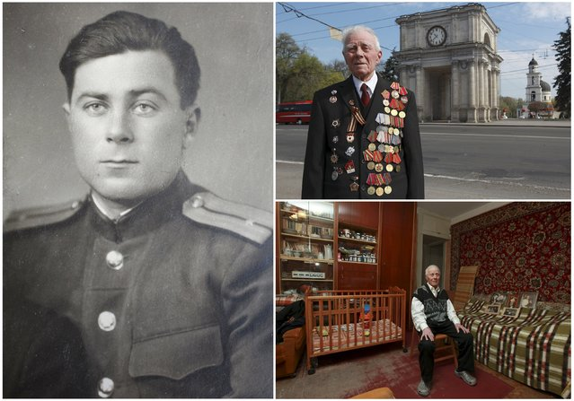 World War Two veteran Georgy Parul, 89, is seen in an undated handout picture (L), posing for a picture in Chisinau (Top R) and at home in Moldova April 16, 2015. Parul served in an infantry unit of the Soviet Union army from December 1943 until May 1945. The end of World War Two found him in Burgas, Bulgaria. (Photo by Valery Korchmar/Reuters/Family handout (L))