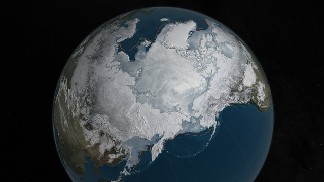 This image provided by NASA shows Arctic sea ice at it maximum, the lowest on record. The winter maximum level of Arctic sea ice shrank to the smallest on record, thanks to extraordinarily warm temperatures, federal scientists said. The National Snow and Ice Data Center says sea ice spread to a maximum of 5.607 million square miles in 2016. That's 5,000 square miles less than the old record set in 2015, a difference slightly smaller than the state of Connecticut. (Photo by NASA via AP Photo)