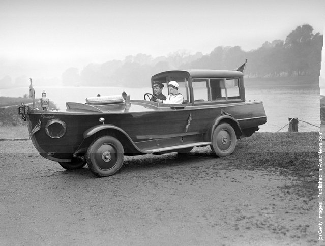 1926: The Peugeot motor-boat car, on a river bank