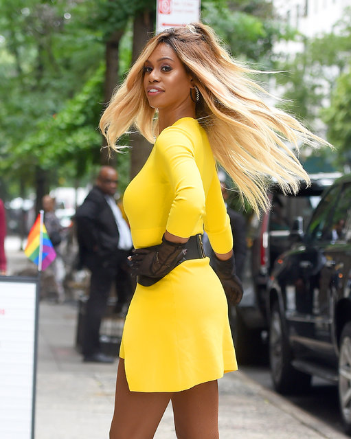 "American actress and ""Orange is the New Black"" star Laverne Cox shows off her yellow dress at Buzz Feed in New York City on June 25, 2019. (Photo by Robert O'Neil/Splash News and Pictures)"