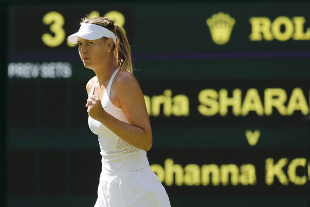Maria Sharapova of Russia reacts against Johanna Konta of Britain at the Wimbledon Tennis Championships in London, June 29, 2015. (Photo by Suzanne Plunkett/Reuters)