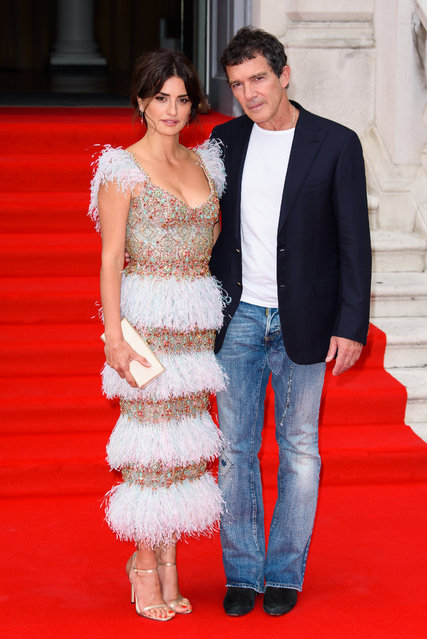 "Penelope Cruz and Antonio Banderas attend the ""Pain And Glory"" UK Premiere and opening gala of Film4 Summer Screen at Somerset House on August 08, 2019 in London, England. (Photo by Joe Maher/Getty Images)"