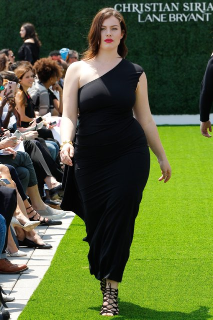 A model walks the runway at the Christian Siriano X Lane Bryant Collection at United Nations on May 9, 2016 in New York City. (Photo by JP Yim/Getty Images)