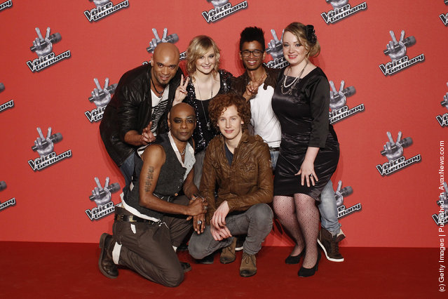 Talents Charles Simmons, Percival, Lena Sicks, Michael Schulte, Benny Fiedler and Jasmin Graf pose during a photocall to the TV show The Voice of Germany