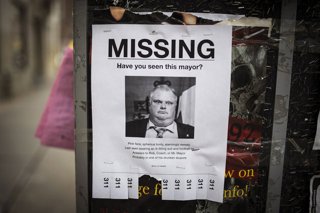 "A mock ""missing persons"" poster with a picture of Toronto Mayor Rob Ford is seen in Toronto, May 7, 2014. Toronto Mayor Rob Ford, who said last month he would take time off to get treatment for an alcohol problem, described rehab as ""amazing"" and said he would return in time for the upcoming city election, a Toronto newspaper reported on Wednesday. (Photo by Mark Blinch/Reuters)"