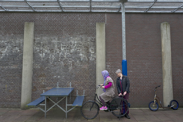In this Monday, May 2, 2016 photo, a Dutch volunteer teaches an Afghan refugee woman how to ride a bicycle at a yard in the former prison of De Koepel in Haarlem, Netherlands. With crime declining in the Netherlands, the country is looking at new ways to fill its prisons. (Photo by Muhammed Muheisen/AP Photo)