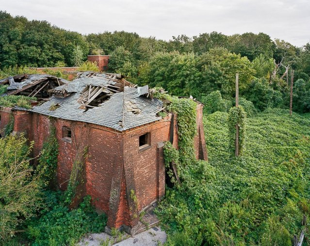 Coalhouse from Morgue Roof, North Brother Island, New York. (Photo by Christopher Payne)