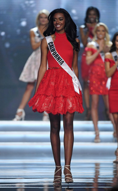 Miss California USA 2017 India Williams reacts after being named a top 10 finalist during the 2017 Miss USA pageant at the Mandalay Bay Events Center on May 14, 2017 in Las Vegas, Nevada. (Photo by Ethan Miller/Getty Images)