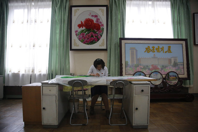 A school girl concentrates on her embroidery work during a sewing class, in a room decorated with finished pieces of work, Thursday, May 7, 2015, in Pyongyang, North Korea. (Photo by Wong Maye-E/AP Photo)
