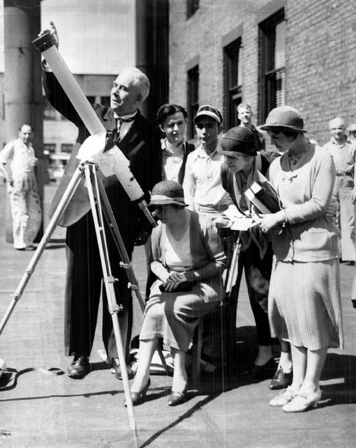 Viewing the Eclipse Prof. George Leo Patterson, The Denver Post astronomer, shown here, viewed the eclipse in 1932 thru a telescope on top of The Post buildings, Professor Patterson and other astronomers and scientists thru out the country reported new discoveries as the result of the study. (Photo by Denver Post/Library archive)