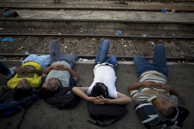 Migrants rest at Gevgelija train station in Macedonia, close to the border with Greece, August 14, 2015. (Photo by Stoyan Nenov/Reuters)