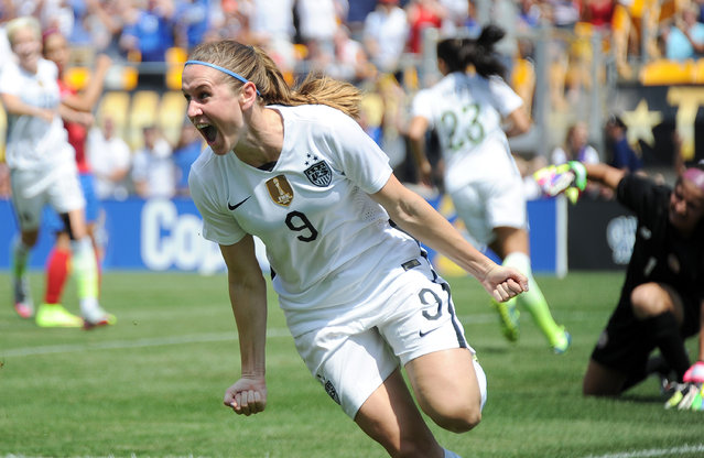 United States midfielder Heather O'Reilly (9) celebrates after scoring a goal against Costa Rica during the first half of a women's friendly soccer match on Sunday, August 16, 2015, in Pittsburgh. (Photo by Don Wright/AP Photo)