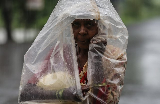 A woman covered in a polythene sheet during rain near Vajreswari village, around 70 kms from Mumbai, India, 29 July 2014. (Photo by Divyakant Solanki/EPA)