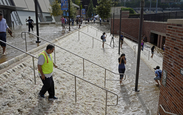 People walk down a stairway leading to a parking structure across from Pauley Pavilion on the UCLA campus after flooding from a broken 30-inch water main under nearby Sunset Boulevard inundated a large area of the campus in the Westwood section of Los Angeles, Tuesday, July 29, 2014. (Photo by Mike Meadows/AP Photo)