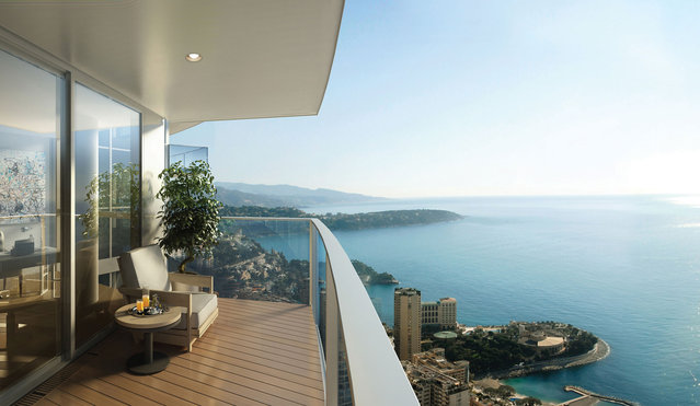 Residents can soak in the legendary light in the South of France outdoors, even dozens of stories above street level. (Photo by Tour Odeon)