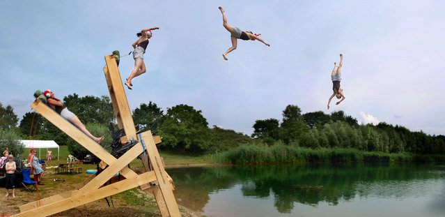 The human catapult in action. (Photo by Caters News)
