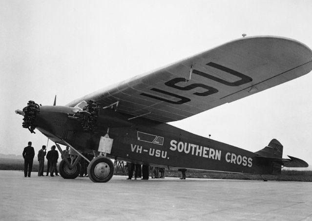 Australian pilot Charles Kingsford Smith's, unseen,  plane Southern Cross at Croydon Aerodrome, London before he attempts to fly over the Atlantic on June 3, 1930. (Photo by AP Photo/Staff/Putnam)