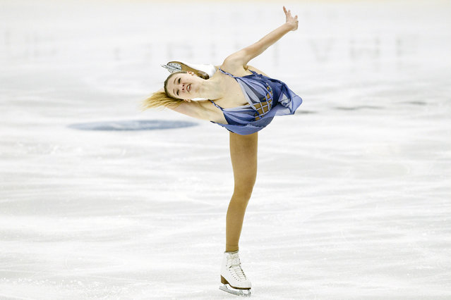 Maria Sotskova of Russia competes in the ladies' free skating event on October 8, 2017 at the ISU figure skating Finlandia Trophy competition at the Metro Areena in Espoo, which is adjacent to the Finnish capital Helsinki. (Photo by Roni Rekomaa/AFP Photo/Lehtikuva)