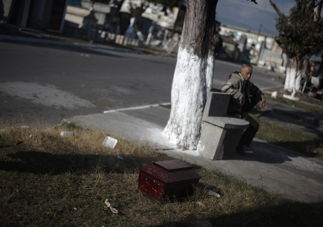 A man sits near a small coffin holding the remains of a family member after they had been exhumed at the Cemetery General in Guatemala City December 18, 2012. (Photo by Jorge Dan Lopez/Reuters)