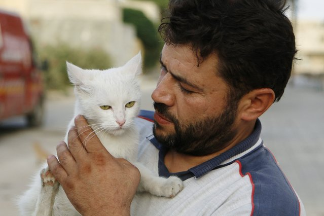 Alaa, an ambulance driver, carries a cat in Masaken Hanano in Aleppo, September 24, 2014. (Photo by Hosam Katan/Reuters)