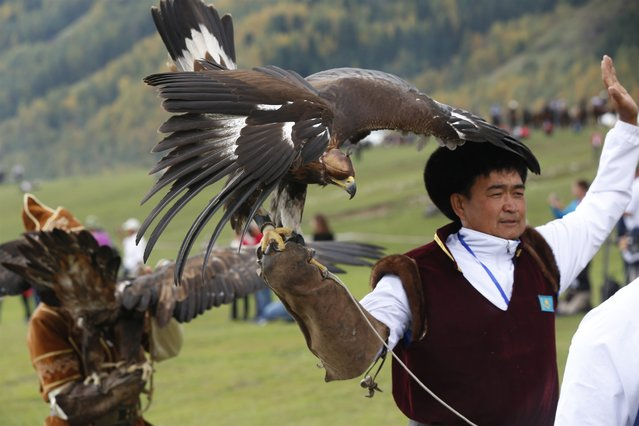 A competitor for traditional hunting reacts with his falcon during the third day of the Second World Nomad Games in Cholpon-Ata, Kyrgyzstan on September 5, 2016. The Second World Nomad Games, starting on September 3-8, 2016, will be attended by around 500 athletes in 26 sports. (Photo by Roman Gainanov/ZUMA Press/Splash News)