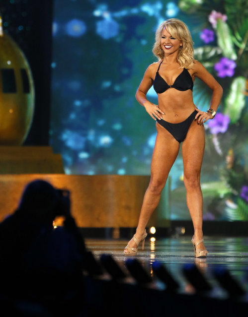 Miss Arkansa Savvy Shields during swimsuit competition at the Miss America 2017 pageant, Sunday, September 11, 2016, in Atlantic City, N.J. (Photo by Noah K. Murray/AP Photo)