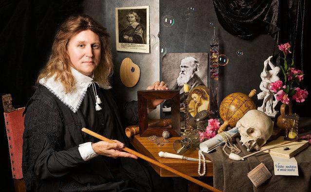"""Self Portrait with vanitas symbols"". (Kevin Best)"