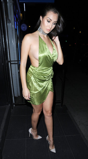 "UK ""Ex on the Beach"" star Chloe Goodman rocks some serious sideboob in a slinky green outfit on a night out in London, England on September 13, 2016. (Photo by XposurePhotos.com)"