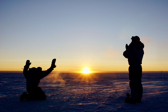 After four months of darkness, the Sun finally rises on 11 August at Concordia research station in Antarctica. The crew are understandably reverent. ESA-sponsored medical doctor Stijn Thoolen (left) and engineer Wenceslas Marie-Sainte (right) are part of the 12-member crew spending an entire year at Concordia. For nine months they are holding down the base in one of the most isolated, confined and extreme environments on Earth, with no way in or out of the station. They run experiments in human physiology and biology, atmospheric physics, meteorology and astronomy, among other disciplines, as well as maintain the base – one of only three to run year-round on the Antarctic Peninsula. (Photo by S. Thoolen/ESA/IPEV/PNRA)