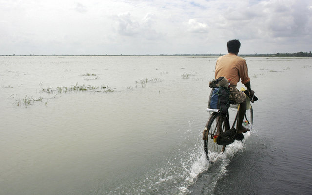 A man cycles along the flooded Karaitivu road in Kalmunai in Sri Lanka's east coast in this January 2, 2005 file photo. (Photo by Kieran Doherty/Reuters)