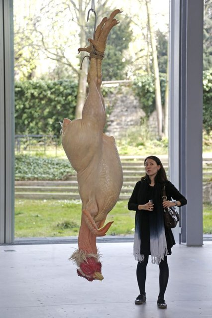 "A visitor looks at a sculpture entitled ""Still Life"" (2002) by artist Ron Mueck during the press day for his exhibition at the Fondation Cartier pour l'art contemporain in Paris April 15, 2013. (Photo by Charles Platiau/Reuters)"