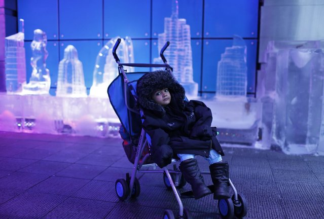 A toddler sits in his stroller while his parents tour the insides of the Chillout cafe in Dubai May 12, 2013. (Photo by Ahmed Jadallah/Reuters)