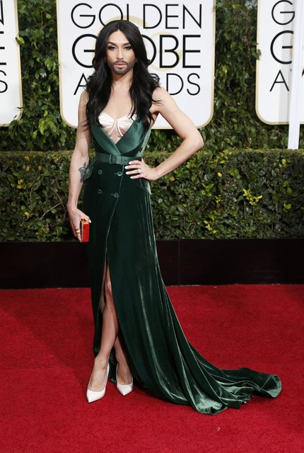Eurovision winner Conchita Wurst arrives at the 72nd Golden Globe Awards in Beverly Hills, California January 11, 2015. (Photo by Mario Anzuoni/Reuters)