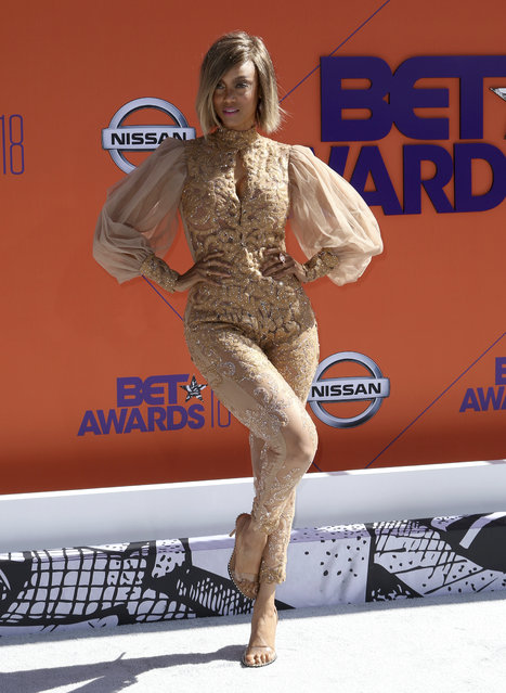 Tyra Banks arrives at the BET Awards at the Microsoft Theater on Sunday, June 24, 2018, in Los Angeles. (Photo by Willy Sanjuan/Invision/AP Photo)
