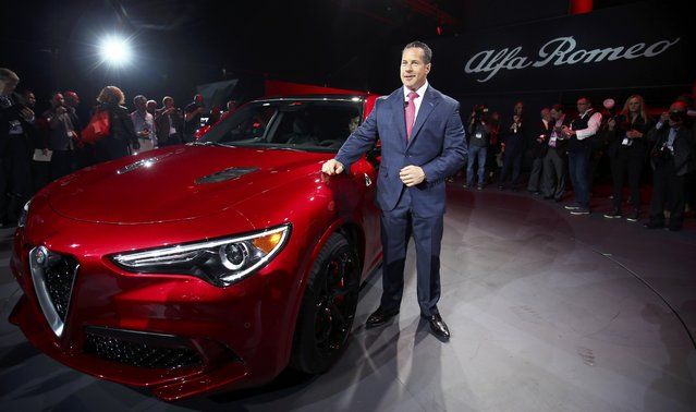 Reid Bigland, head of Alfa Romeo, introduces the 2018 Stelvio SUV at the 2016 Los Angeles Auto Show in Los Angeles, California, U.S November 16, 2016. (Photo by Mike Blake/Reuters)