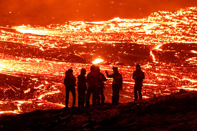 Volcanic eruption in Geldingadalur in Reykjanes peninsula in Iceland March 20, 2021. Picture taken March 20, 2021. (Photo by Kristinn Magnusson/mbl.is via Reuters)