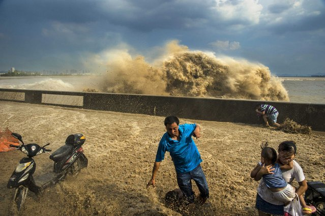 Visitors run away as waves from a tidal bore surge past a barrier on the banks of Qiantang River, in Hangzhou Zhejiang province, on August 27, 2013. (Photo by Reuters/Stringer)