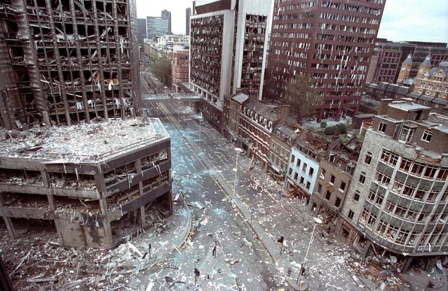 The bomb damaged area of the City of London is seen in this April 24, 1993 file photo after two blasts ripped through the buildings in the area. Dozens of people were injured in the blast caused by IRA bombs. (Photo by Andre Camara/Reuters)