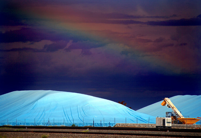 Piles of harvested wheat are covered with plastic sheets near the depot for GrainCorp, Australia's largest listed bulk grain handler, located in the New South Wales town of Burren Junction, located north-west of Sydney in Australia, March 15, 2017. (Photo by David Gray/Reuters)