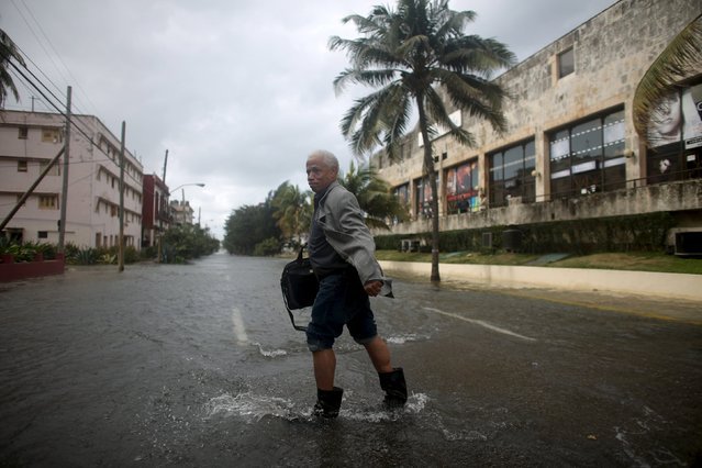 Canadian businessman Barry Walsh makes his way on a flooded street in Havana, January 23, 2016. (Photo by Alexandre Meneghini/Reuters)