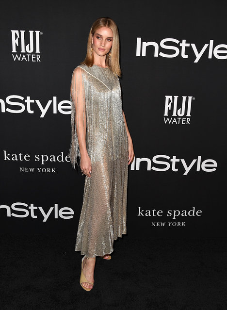 Rosie Huntington-Whiteley arrives at the 2018 InStyle Awards at The Getty Center on October 22, 2018 in Los Angeles, California. (Photo by Steve Granitz/WireImage)