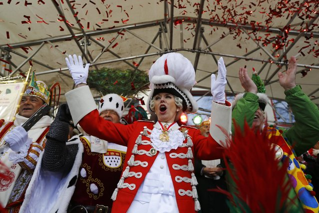 """Cologne Mayor Henriette Reker takes part in the """"Weiberfastnacht"""" (Women's Carnival) celebrations in Cologne, Germany February 4, 2016. (Photo by Wolfgang Rattay/Reuters)"""