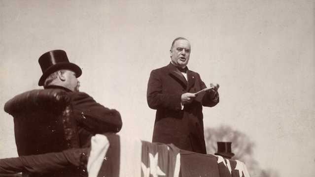 William McKinley delivers his inaugural address as outgoing President Cleveland listens in Washington, D.C., U.S. March 1897. McKinley's address was recorded by Edison's new motion picture camera and a gramophone. (Photo by Reuters/Library of Congress)